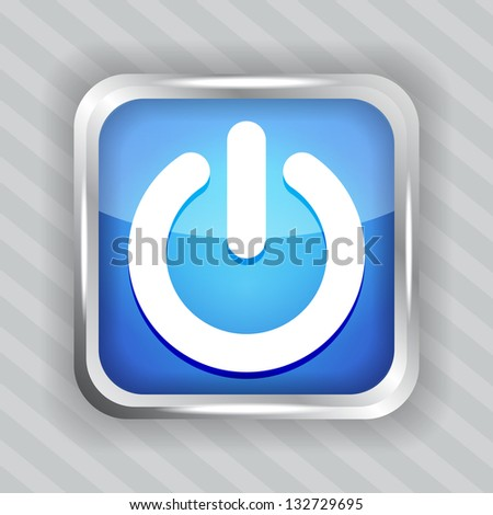 blue power button icon on the striped background - stock vector