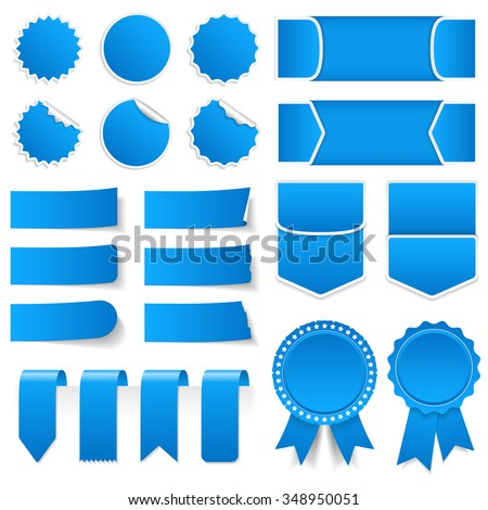 Blue price tags, stickers, labels, banners and ribbons, vector eps10 illustration - stock vector