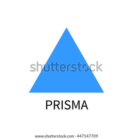Blue prism logo template, prisma vector sign on white background with text