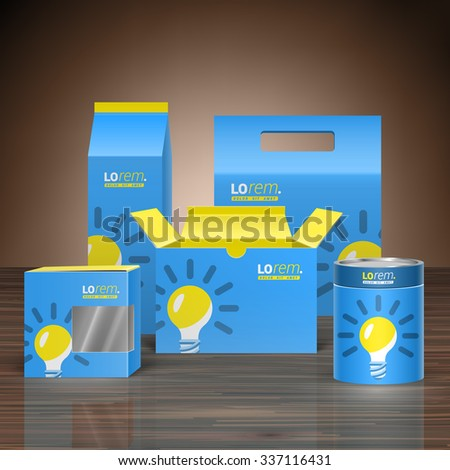 Blue promotional package design for corporate identity with yellow light bulb. Stationery set - stock vector