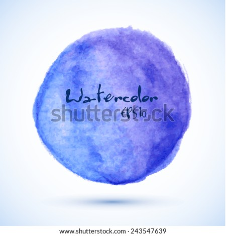 Blue purple abstract gradient watercolor circle, vector design element - stock vector