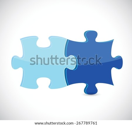 blue puzzle pieces illustration design over white - stock vector
