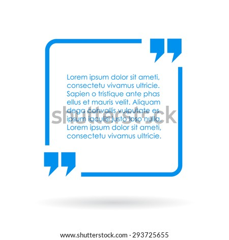 Blue quote text box - stock vector