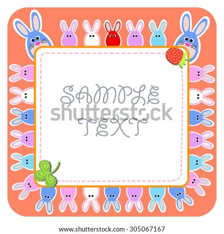 Blue Rabbit Strawberry Cute Frame Rabbits Stock Vector 305067167 ...