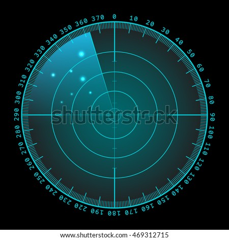Blue radar screen with targets in process ,dynamic illustration . Conceptual design of military radar screen. Vector illustration .