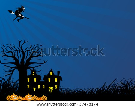 blue rays background with flying witch, tree, pumpkin and house
