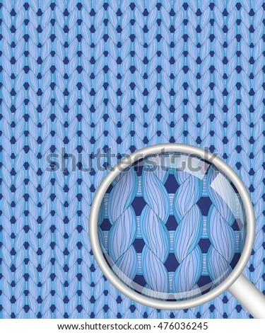Blue realistic seamless knitted pattern