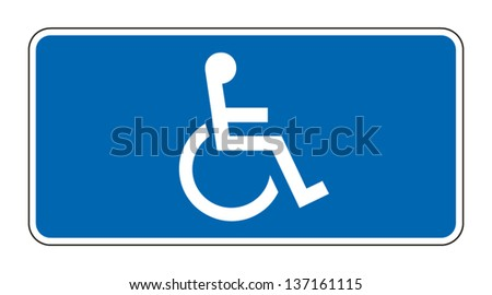 Blue rectangle handicapped sign with wheelchair, isolated on white, vector - stock vector