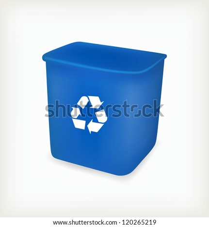 Blue recycling bin. Vector illustration