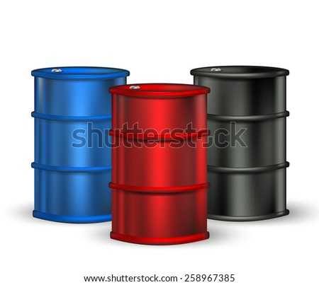 blue, red and black petrol barrel on white - stock vector