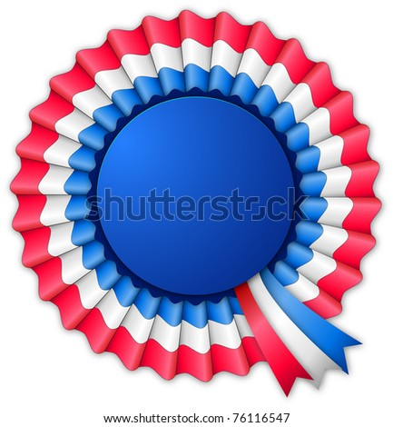 Blue red and white blank rosette with ribbon isolated on white - stock vector