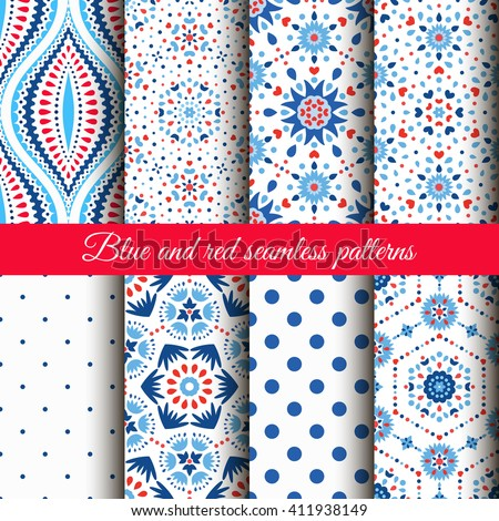 Blue Red Floral Patterns on white background. Dot and flower ornament. Wallpaper collection. Fabric print set. Abstract almond shape. Funny boho chic style. Ethnic motif. Fashionable decorative design - stock vector