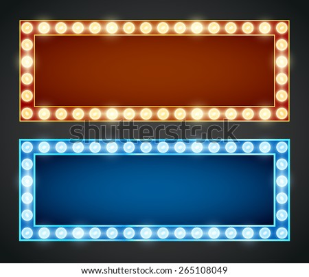 Blue red gold colored vector retro looks frames template. Lamps lighted vector illustration - stock vector