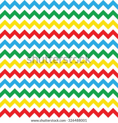 blue, red, green, yellow & white chevron pattern, seamless texture background - stock vector