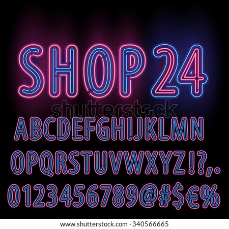 Blue Red Neon Light Double Stroke Alphabet Set for Signs. Realistic vector font set - stock vector