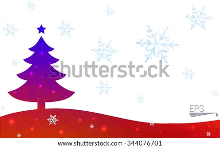 Blue, red postcard low polygon style christmas tree vector illustration consisting of triangles. Abstract polygonal origami or crystal design of New Years celebration. Isolated on white background.