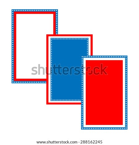 Blue, red, white  patriotic frame design for 4th of july - stock vector