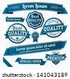 Blue retro style guarantee and quality label collection. Vector. - stock photo