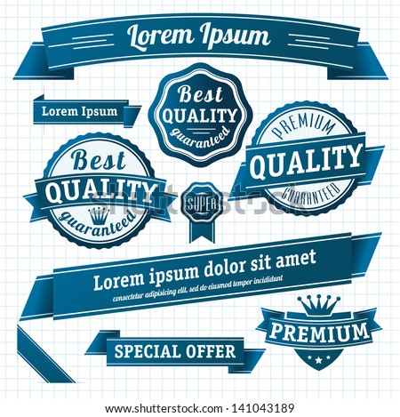Blue retro style guarantee and quality label collection. Vector. - stock vector