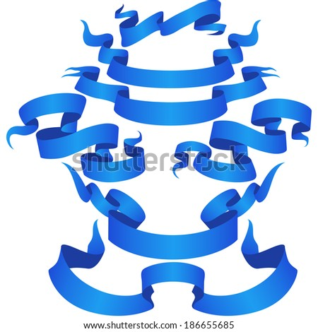 Blue Ribbon Banner set Part 1. Vector  - stock vector