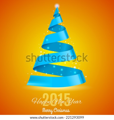 Blue ribbon Christmas tree on yellow and orange background. Greeting card 2015. - stock vector