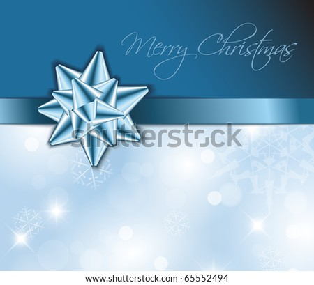 Blue ribbon with bow and Christmas abstract background - stock vector