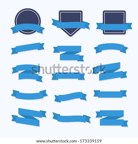 Blue Ribbons and Badges.Flat Style - stock vector