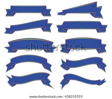 blue ribbons set - stock vector