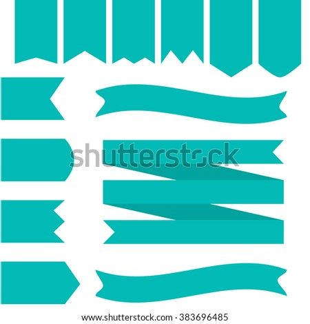 Blue Ribbons Set Flat Style - stock vector