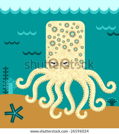 Blue-ringed octopus, vector - stock vector