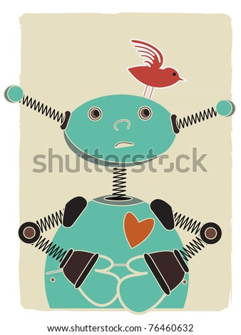 Blue robot looks up at red bird perched on his head - stock vector