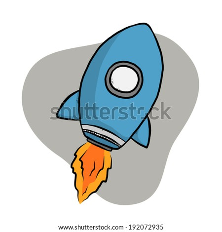 blue rocket with fire / cartoon vector and illustration, hand drawn style, isolated on white background.