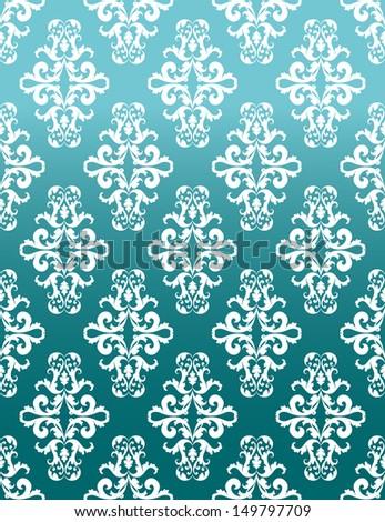blue rococo pattern - stock vector