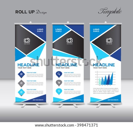 Blue Roll Up and info graphics vector template - stock vector