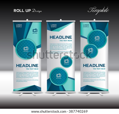 Blue Roll Up Banner template vector illustration, advertisement, display, stand flyer design,  polygon background - stock vector