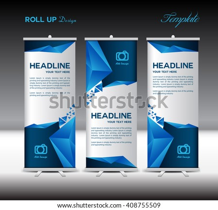 Blue Roll Up Banner template vector illustration,banner design, polygon background,stand template,roll up display - stock vector