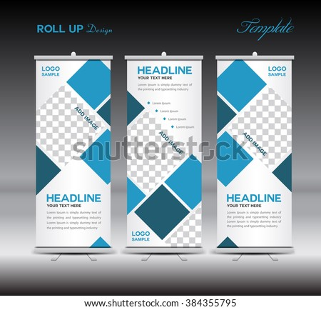Blue Roll Up Banner template vector illustration, polygon background, stand, display, advertisement, flyer design - stock vector