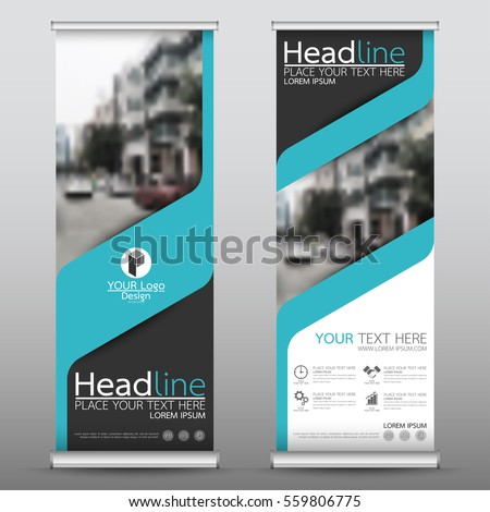 Blue roll up business banner design vertical template vector, cover presentation abstract geometric background, modern publication display and flag-banner, layout in rectangle