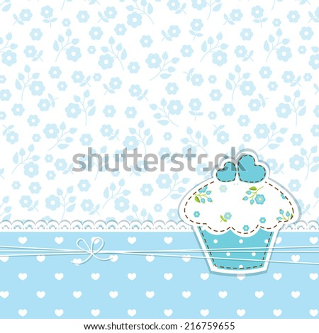 Blue romantic background with cupcake - stock vector