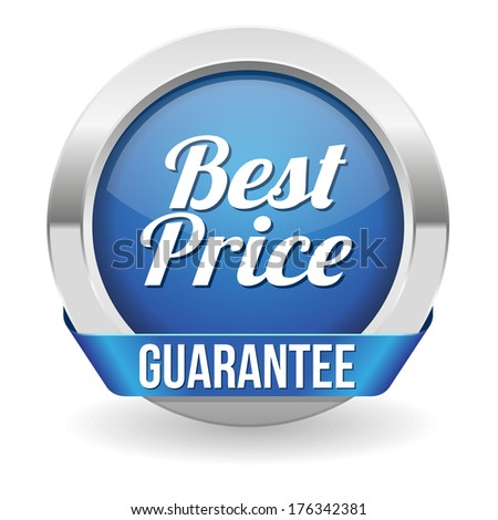 Blue round best price button with ribbon - stock vector