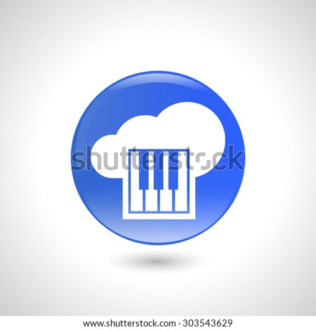 Blue round button with piano icon for web design - stock vector