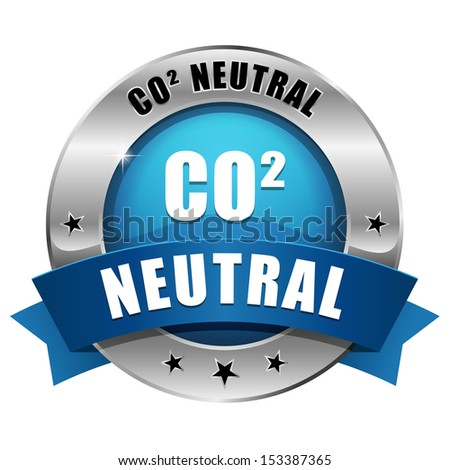 Blue round carbon dioxide neutral button - stock vector