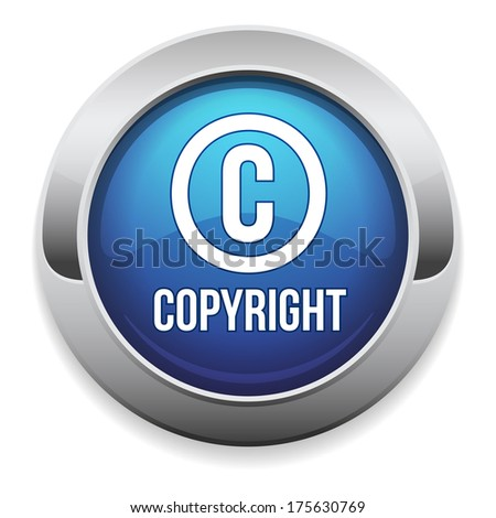 Blue round copyright button with metallic border - stock vector