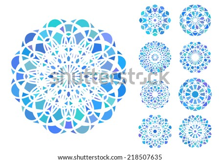 Blue round east ornament set. Vector symbols - stock vector