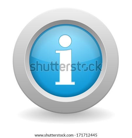 Blue round information button - stock vector