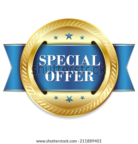 Blue round special offer badge with ribbon on white background - stock vector