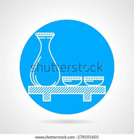 Blue round vector icon with white line sake jug and two cups on table on gray background.  - stock vector