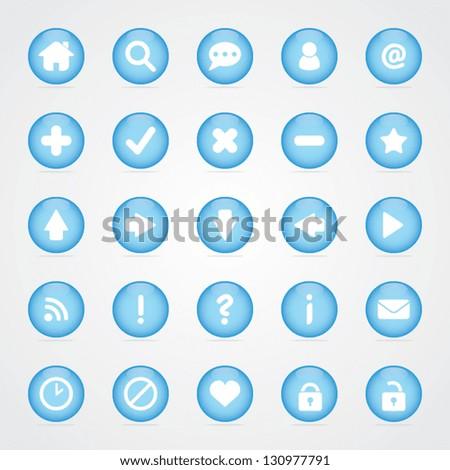 Blue Round Web Icon Button Set - stock vector
