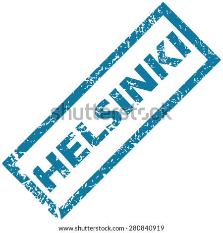Blue rubber stamp with city name Helsinki, isolated on white - stock vector