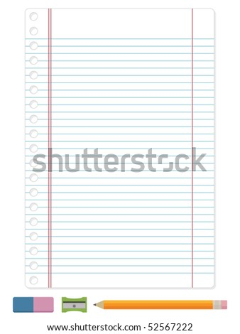 blue ruled lined blank paper with pencil ready for your text